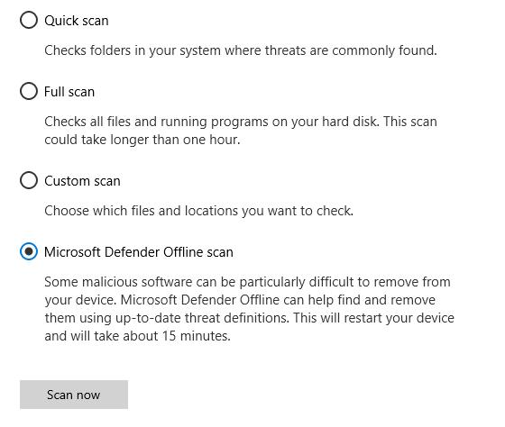El cuadro de diálogo Opciones de análisis que muestra la opción análisis sin conexión de Microsoft defender seleccionado.