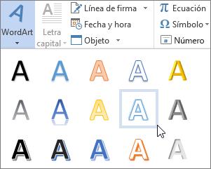 Elegir una opción de WordArt