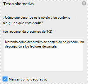Casilla marcar como decorativo seleccionada en el panel texto alternativo de Excel para Mac