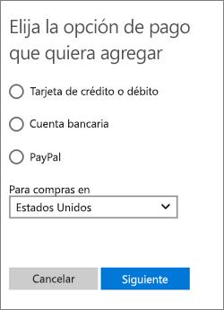 El menú Elegir una opción de pago que muestra las opciones disponibles para los Estados Unidos.