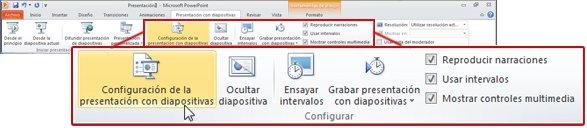 Grupo Configuración de la ficha Presentación en la cinta de PowerPoint2010
