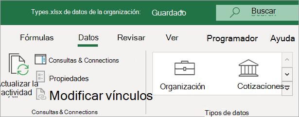 Pestaña datos de Excel que muestra el icono tipos de datos de la organización