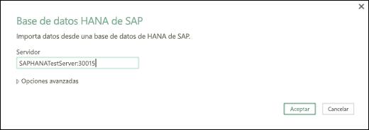 Cuadro de diálogo de base de datos SAP HANA