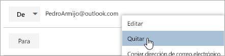 Captura de pantalla de la opción quitar