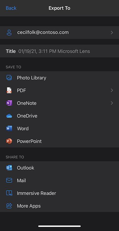 Captura de pantalla de Microsoft Lens en un iPhone