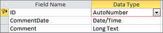 Clave principal de Autonumeración etiquetada como Id. en la vista Diseño de tabla de Access
