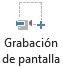 El botón Grabación de pantalla en la pestaña Grabación en PowerPoint 2016