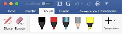 Lápices y marcadores de resaltado en la pestaña dibujar en Office 365 para Mac