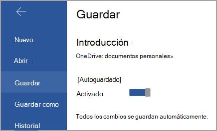 Conmutador de autoguardado en Android