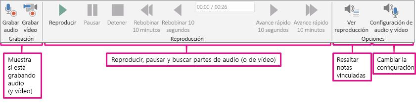 La cinta de opciones de audio