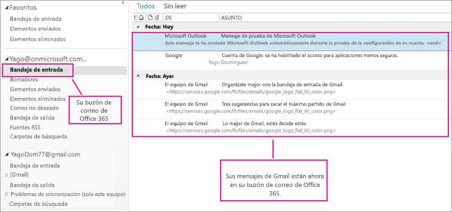 Después de importar el mensaje al buzón de Office 365, aparecerá en dos lugares.
