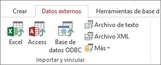 Pestaña Datos externos de Access