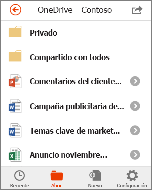 Archivos de OneDrive en Office Mobile