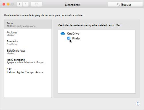 Captura de pantalla de Extensiones de preferencias del sistema en un equipo Mac