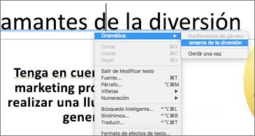 Palabras subrayadas en azul con el menú contextual que muestra sugerencias gramaticales