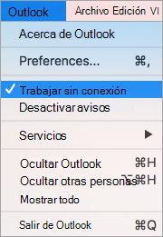 Muestra la opción trabajar sin conexión seleccionada en el menú de Outlook