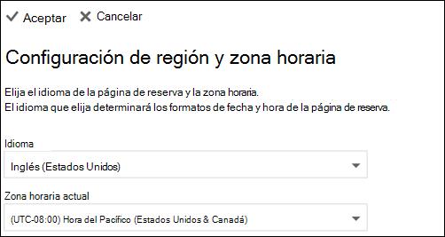 Captura de pantalla: Seleccione su idioma y zona horaria actual
