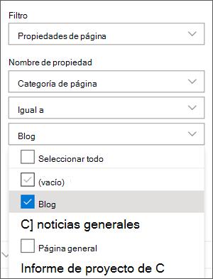 Filtro establecido en blogs en el panel de elemento Web noticias