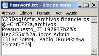 Lista de contraseñas en un archivo del Bloc de notas