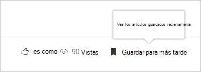 Haz clic para ver el panel de elementos guardados recientemente