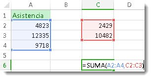 Usar SUMA con dos rangos de números