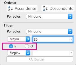 En el cuadro Filtro, seleccione Y u O para agregar más criterios