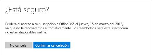 """Captura de pantalla de la página """"¿Está seguro?"""" al cancelar una suscripción de Office 365 para el hogar."""