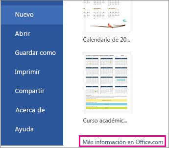 Haga clic en Más en Office.com.