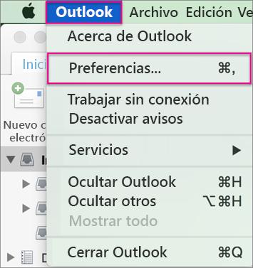 Menú de Outlook > Preferencias