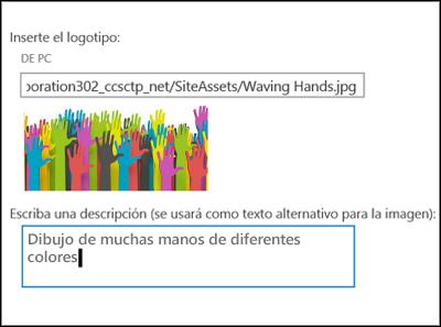 Cuadro de diálogo de título y logotipo del nuevo sitio de SharePoint Online, que muestra cómo crear texto alternativo para una imagen de logotipo