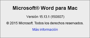Captura de pantalla que muestra la página Acerca de Word en Word para Mac