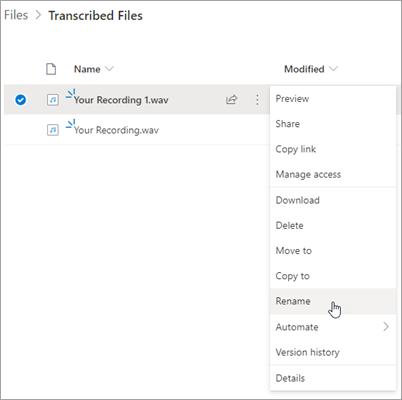 Interfaz de archivo de OneDrive con la grabación resaltada y renombrar opción resaltada en el menú contextual