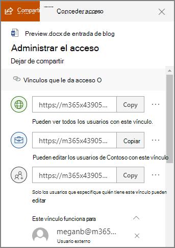 Captura de pantalla del panel de administración de acceso que muestra vínculos para compartir.