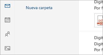 Captura de pantalla de los botones de Correo, Calendario, Personas, Fotos y Tareas en la parte inferior del panel de navegación