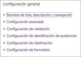 Vínculos de la configuración general de lista