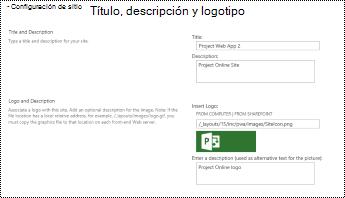 Descripción del sitio y logotipo del sitio panel en Project online