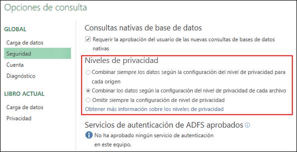 Power Query: establecer los avisos de nivel de privacidad para deshabilitarlos a nivel de equipo (incluida la Clave del Registro)