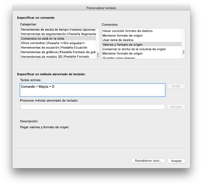 Personalizaciones de teclado de Excel para Mac