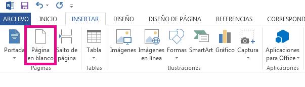 La opción Página en blanco está en la pestaña Insertar.