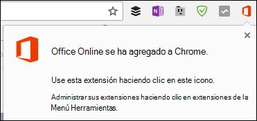 Chrome le notifica que se ha agregado correctamente la extensión de Office Online
