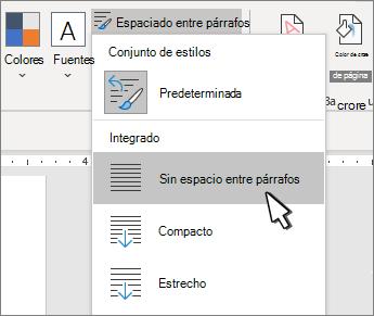 Establecer espacio simple en el documento