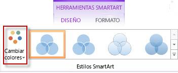 Opción Cambiar colores en el grupo Estilos SmartArt