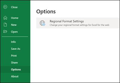 Botón Configuración regional
