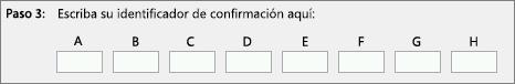 Muestra dónde se especifica el id. de confirmación que el centro de activación de productos proporciona por teléfono