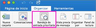 Botón Bandeja de entrada prioritaria en la pestaña Organización de la cinta de opciones