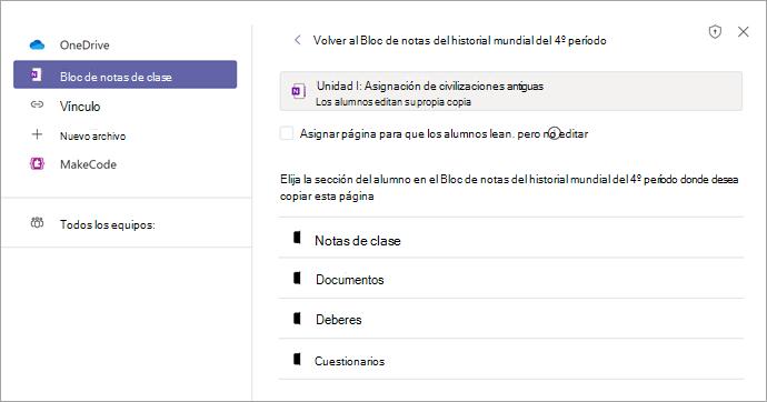 Asignar una página como una tarea en Teams con Bloc de notas de clase de OneNote