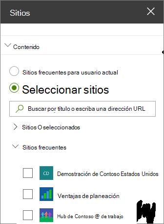 Configuración del elemento web sitios