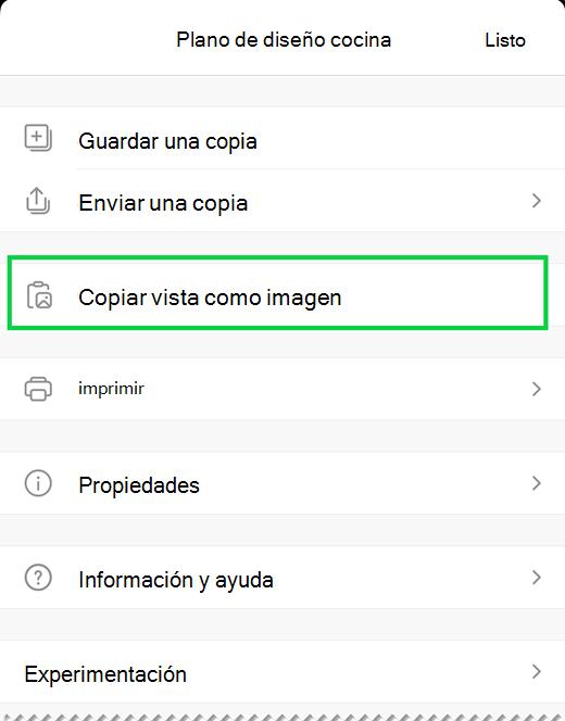 La opción copiar vista como imagen.