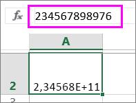 Un valor de número se muestra como exponencial cuando es de doce dígitos o más