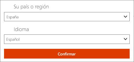 Seleccione su país o región preferida y el idioma.